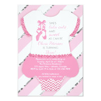 Ballerina Birthday Party Invitation, Tutu, Pink Card