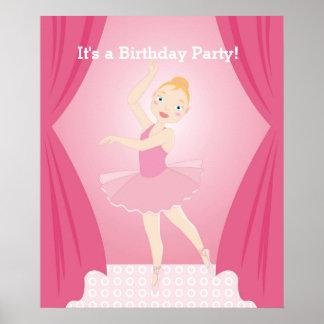 Ballerina birthday party poster