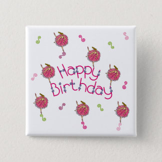 Ballerina Birthday Pinback Button
