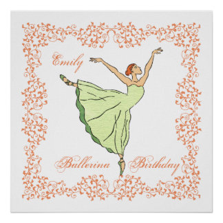 Ballerina Birthday Square Poster