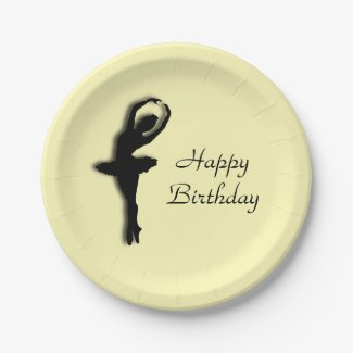 Ballerina Birthday Yellow Paper Plate