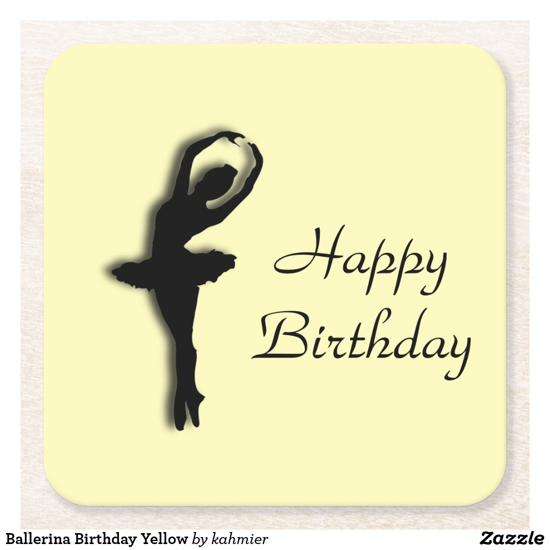 Ballerina Birthday Yellow Square Paper Coaster