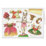 Ballerina Bunny Christmas paper doll card