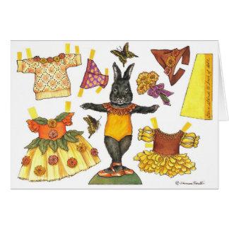 Ballerina Bunny Halloween Paper Doll card