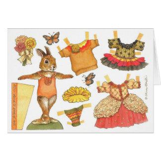 Ballerina Bunny Thanksgiving Paper Doll card