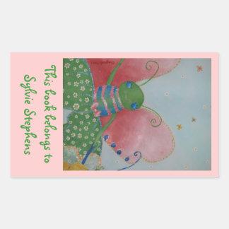 Ballerina butterfly bookplate rectangular sticker