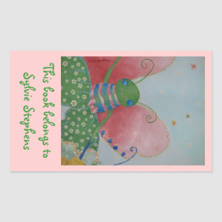 Ballerina butterfly bookplate rectangle stickers