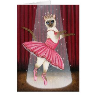 Ballerina Cat Chocolate Point Siamese Greeting Car Card
