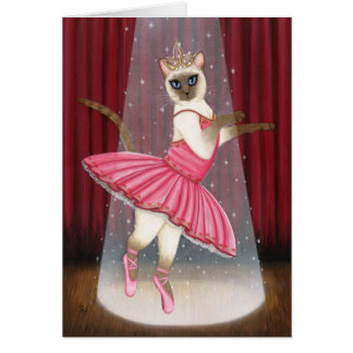 Ballerina Cat Chocolate Point Siamese Greeting Car Greeting Card