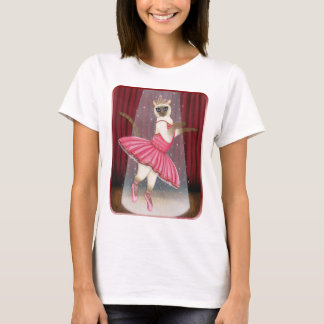 Ballerina Cat Chocolate Point Siamese, Pink Tutu,  T-Shirt