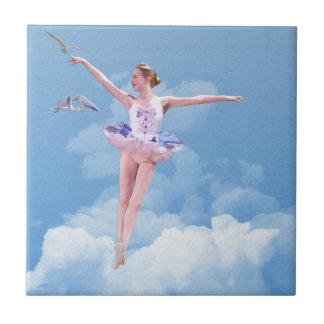 Ballerina, Clouds, Birds Tile