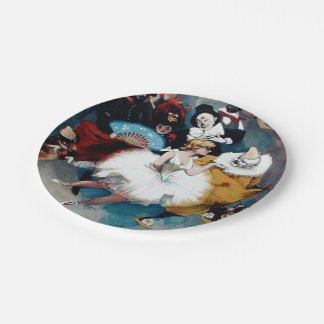 Ballerina Clown Circus Vintage poster Paper Plate