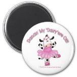 Ballerina Cow 2 Inch Round Magnet