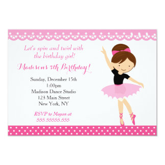 Ballerina Dance Birthday Party Invitation