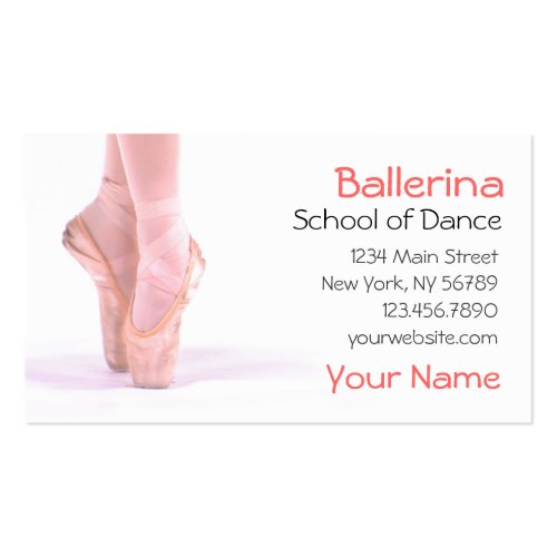 Ballerina Dance Instructor Double-Sided Standard Business Cards
