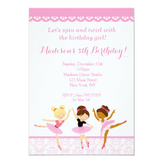 Ballerina Dancer Birthday Invitations