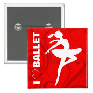 Ballerina Dancer CHOOSE YOUR BACKGROUND COLOR Pinback Buttons