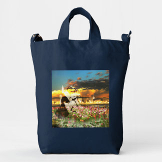 Ballerina Dancer Gold City Pink Tulips Dance Duck Bag