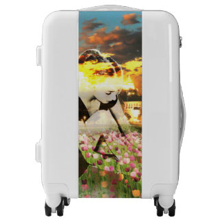 Ballerina Dancer Gold City Pink Tulips Dance Luggage