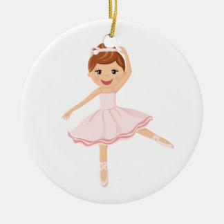 Ballerina Dancer with brown hair Ceramic Ornament