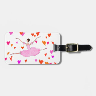 Ballerina dancing in Colorful Hearts Bag Tag