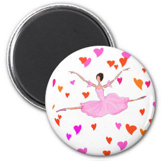 Ballerina dancing in Colorful Hearts Magnet