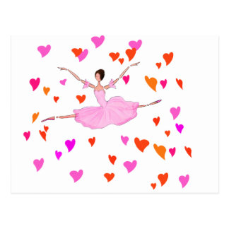 Ballerina dancing in Colorful Hearts Postcard