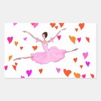 Ballerina dancing in Colorful Hearts Rectangular Sticker