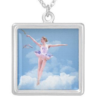 Ballerina Dancing in the Clouds Square Necklace