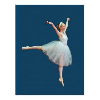 Ballerina Dancing on Blue Postcard