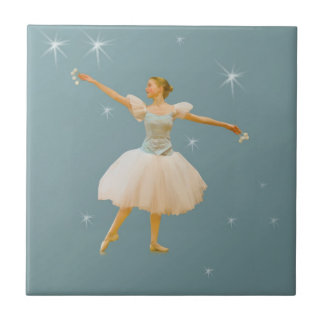 Ballerina Dancing on Green with Stars Tile