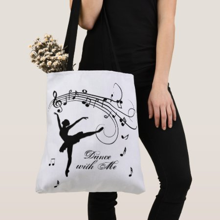 Ballerina Dancing with Music Notes Tote Bag