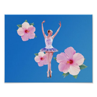 Ballerina Dancing with Pink Hibiscus Print