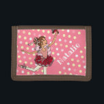 """Ballerina dark hair girl pink red name wallet<br><div class=""""desc"""">Fun bright red and pink with polka dots,  ballerina girl personalized name wallet. Perfect for a dancing dark hair girl to take to school or ballet classes. Customize with your own name. Currently reads Natalie. Illustrated and designed exclusively by Sarah Trett for www.mylittleeden.com</div>"""