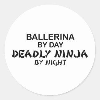 Ballerina Deadly Ninja by Night Round Stickers
