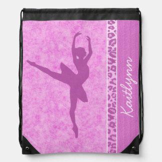 Ballerina Distressed Pink with Cheetah Stripe Drawstring Backpack