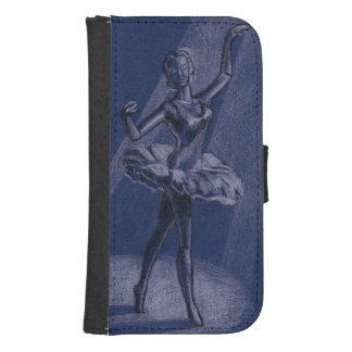 Ballerina drawing wallet phone case for samsung galaxy s4