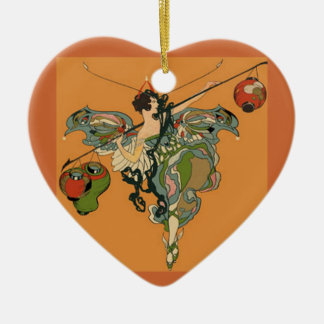 Ballerina Faerie With Lanterns Double-Sided Heart Ceramic Christmas Ornament
