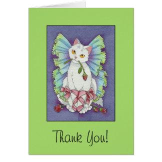 Ballerina Fairy Kitty Cat Cute Thank You Card