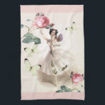 "Ballerina Fairy with pink borders Towel<br><div class=""desc"">A beautiful vintage drawing of one of the most famous ballerina's that has ever lived,  Marie Taglioni.,  teamed with full blown delicate pink roses and white butterflies make up this enchanting image.</div>"