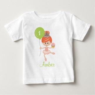 Ballerina First Birthday T-shirt 1st Redhead
