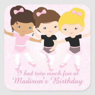 Ballerina Friends Birthday Party Custom Favor Square Sticker