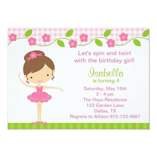 ballerina girl birthday party invitations | zazzle, Birthday invitations