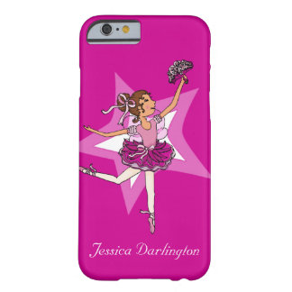 Ballerina girl dark hair star pink iphone case barely there iPhone 6 case
