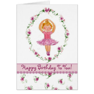 Ballerina Girl Happy Birthday Card Pink Roses