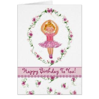 Ballerina Girl Happy Birthday Card Pink Roses