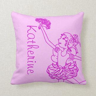 Ballerina girl pink purple name throw pillow