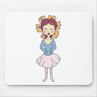 Ballerina Girl With an Orange Flower, Illustration Mouse Pad