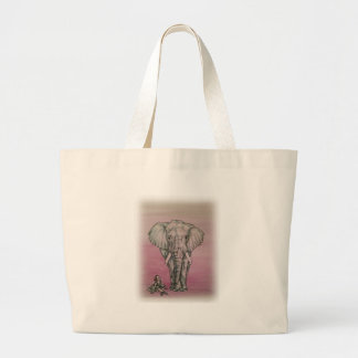Ballerina Girl with Elephant Large Tote Bag