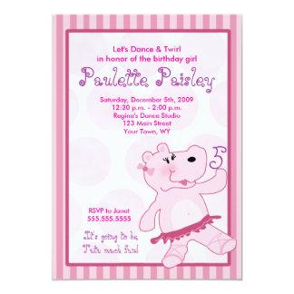 "BALLERINA HIPPO Ballet Tutu Girl Invitation 5"" X 7"" Invitation Card"